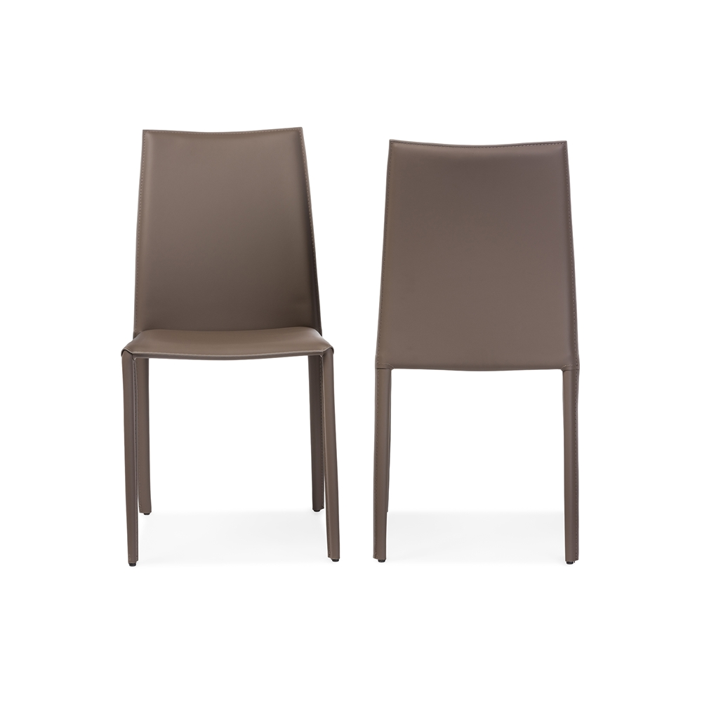 Baxton studio rockford modern and contemporary taupe for Leather upholstered dining chairs