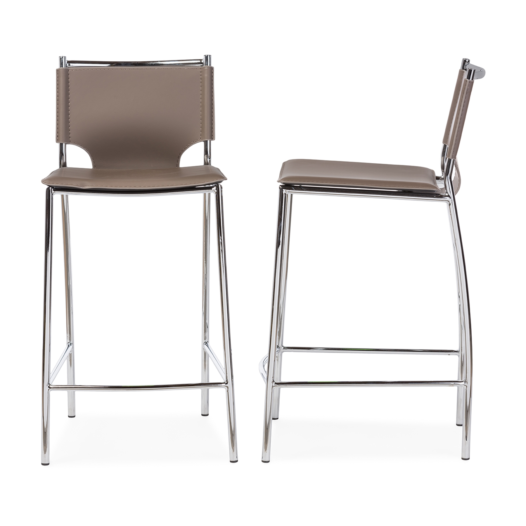 Baxton studio montclare modern and contemporary taupe bonded leather upholstered modern counter stool