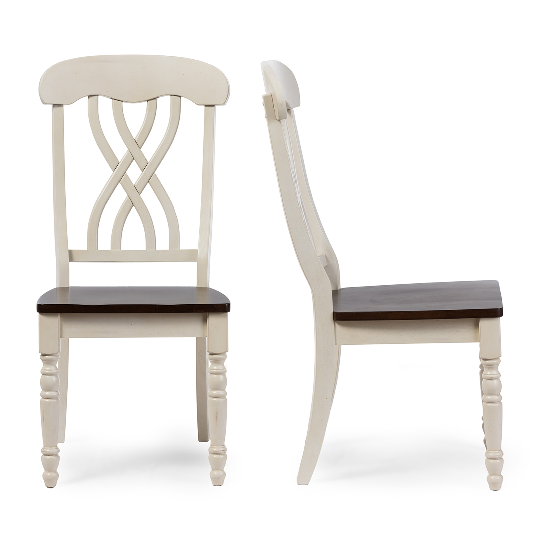 Baxton Studio Newman Chic Country Cottage Antique Oak Wood And Distressed  White Dining Side Chair