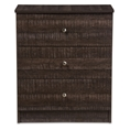 Baxton Studio Decon Modern and Contemporary Espresso Brown Wood 3-Drawer Storage Chest Affordable modern furniture in Chicago, Classic Dressers, Modern Wood 3-Drawer Storage Chest, cheap Dressers