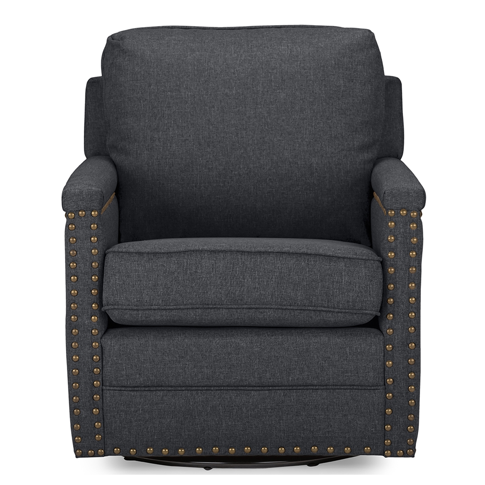 Modern classic armchair - Baxton Studio Ashley Modern And Contemporary Classic Retro Grey Fabric Upholstered Swivel Armchair With Bronze Nail Heads Trim