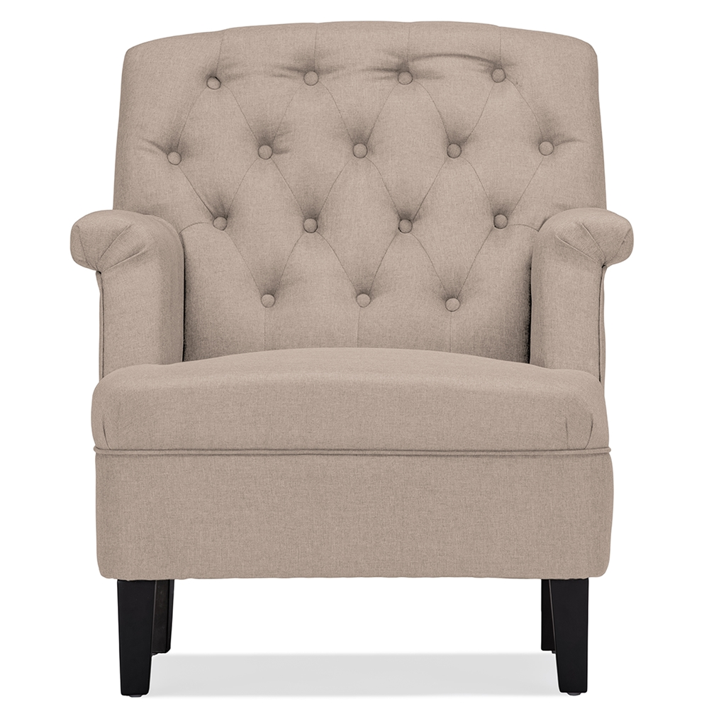 Modern classic armchair - Baxton Studio Jester Classic Retro Modern Contemporary Beige Fabric Upholstered Button Tufted Armchair