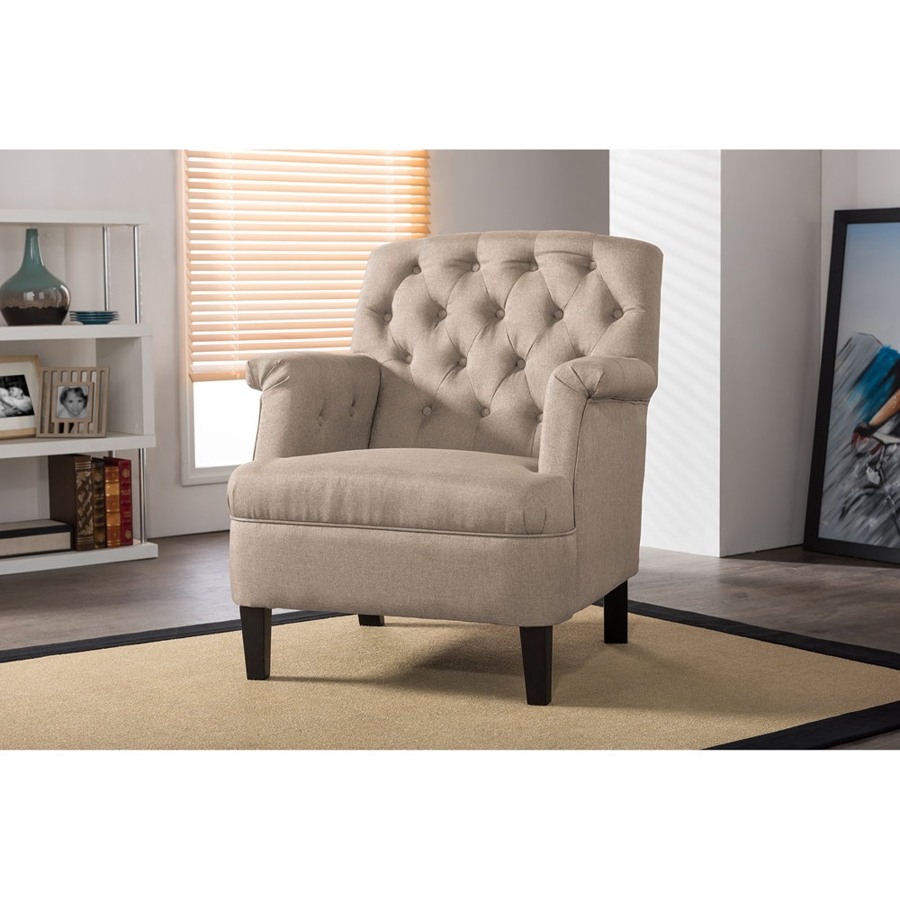 Modern classic armchair -  Baxton Studio Jester Classic Retro Modern Contemporary Beige Fabric Upholstered Button Tufted Armchair Bsodb