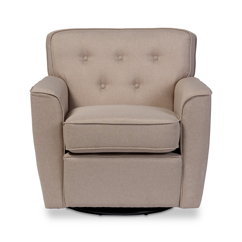 Baxton studio canberra modern retro contemporary beige for Swivel accent chairs with arms