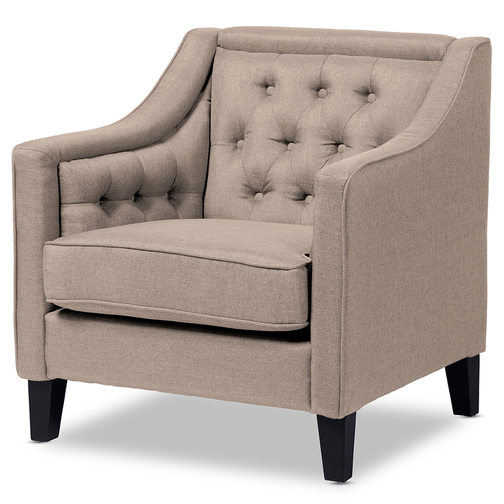 Modern classic armchair - Baxton Studio Vienna Classic Retro Modern Contemporary Beige Fabric Upholstered Button Tufted Armchair