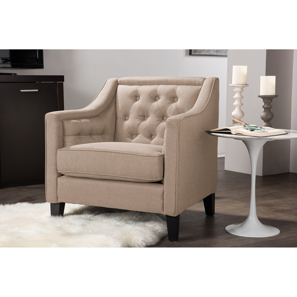 Modern classic armchair -  Baxton Studio Vienna Classic Retro Modern Contemporary Beige Fabric Upholstered Button Tufted Armchair Bsodb