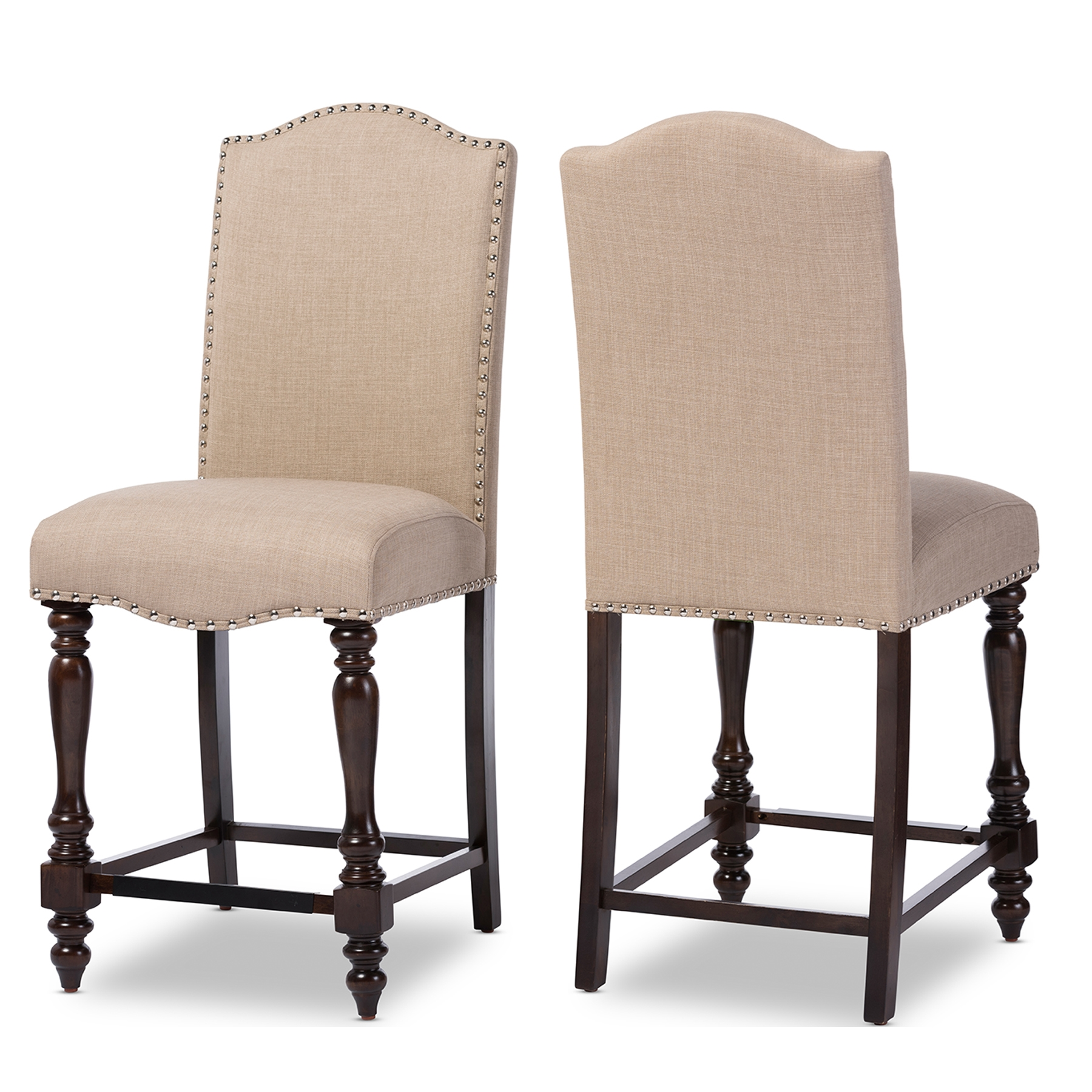 baxton studio zachary chic french vintage oak brown beige linen fabric upholstered counter height dining chair - Vintage Wooden Dining Chairs