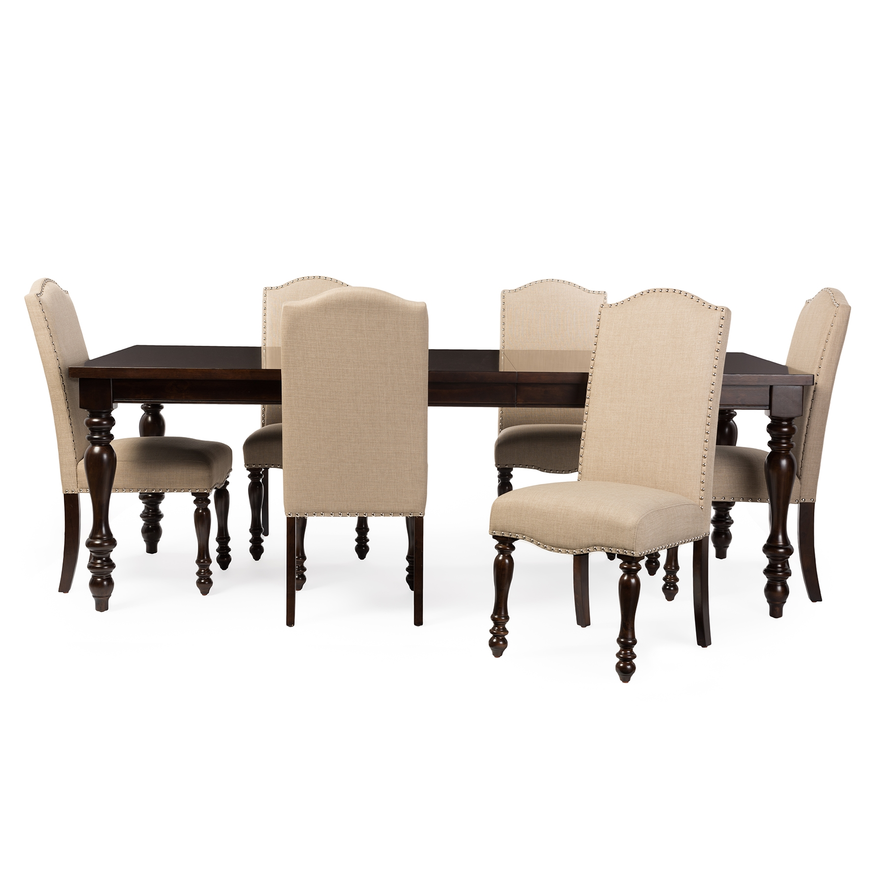 baxton studio zachary chic french vintage oak brown 7piece dining set with 72inch extendable top dining table