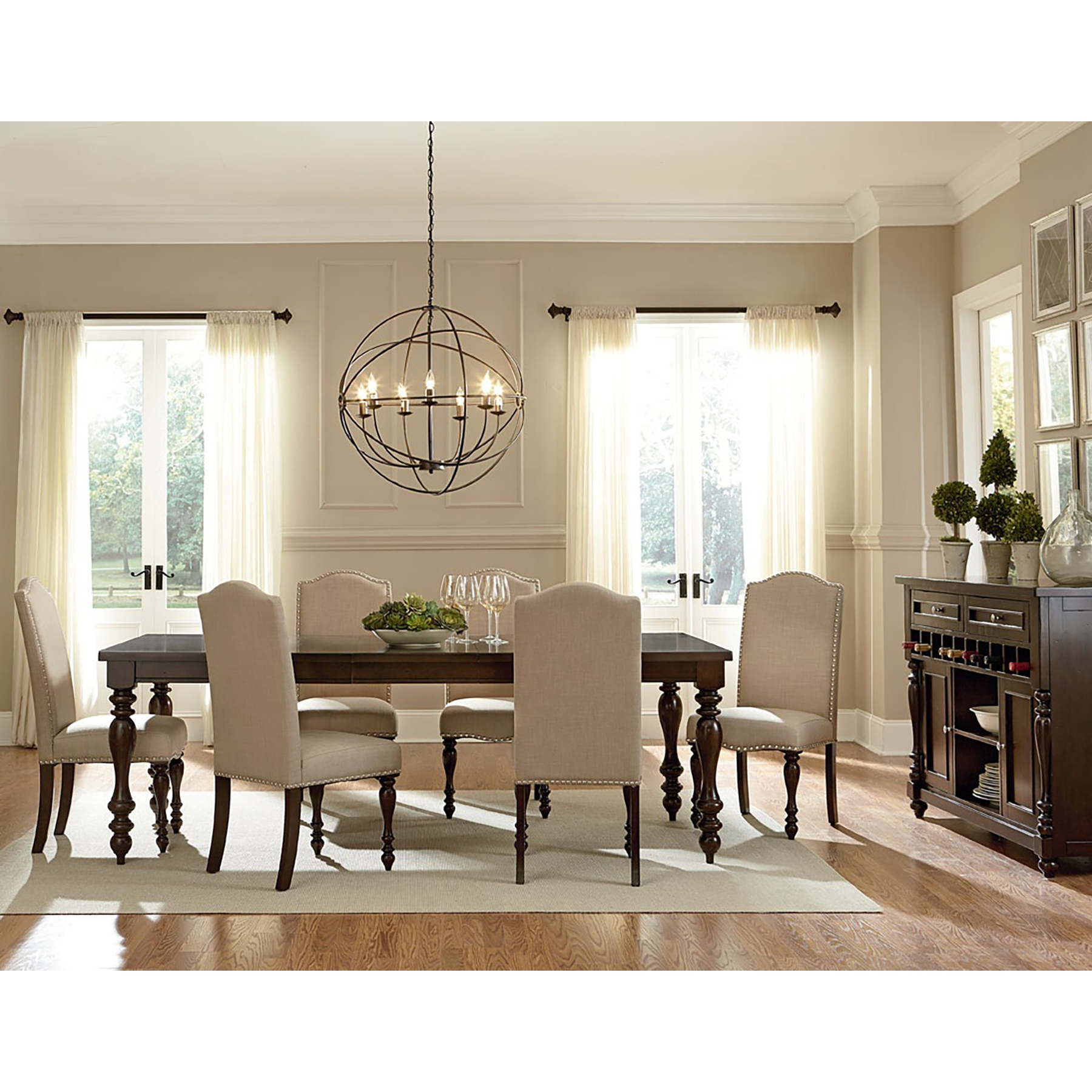 baxton studio zachary chic french vintage oak brown 7piece dining set with 72