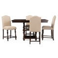Baxton Studio Zachary Chic French Vintage Oak Brown 5-Piece Square Counter Pub Set Affordable modern furniture in Chicago, Classic Bar Table Setss, Modern Table, cheap table.
