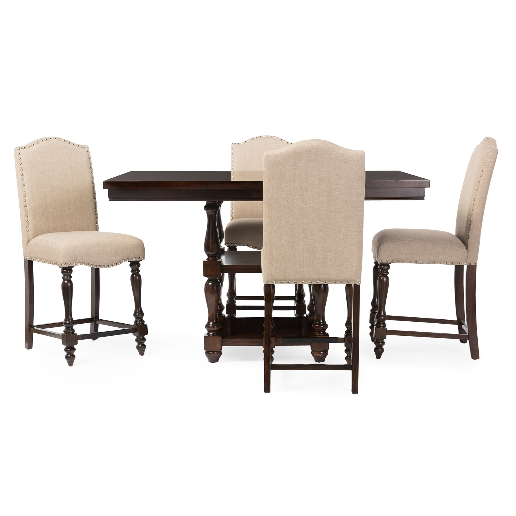 Baxton Studio Zachary Chic French Vintage Oak Brown 5 Piece Square Counter  Pub Set Affordable