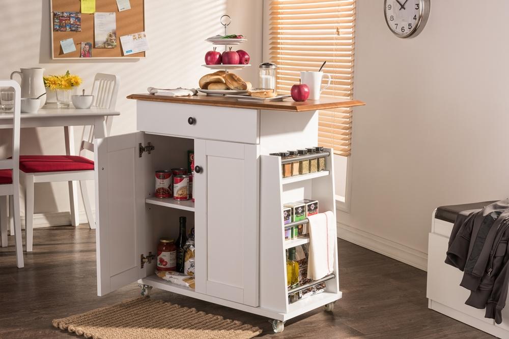 Baxton Studio Balmore Kitchen Cart Trolley Cabinet