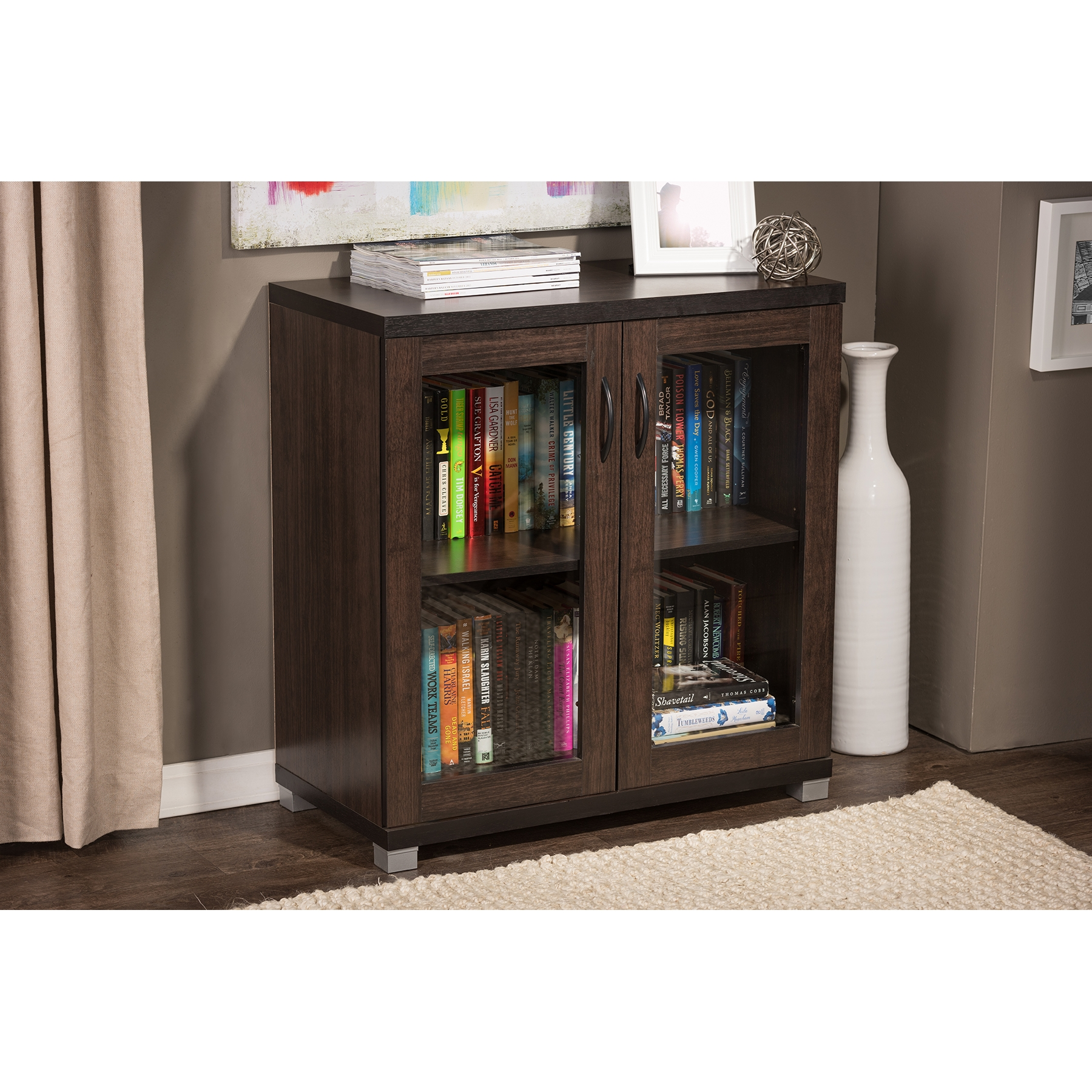 baxton studio zentra modern and dark brown sideboard storage cabinet with glass doors bsosr