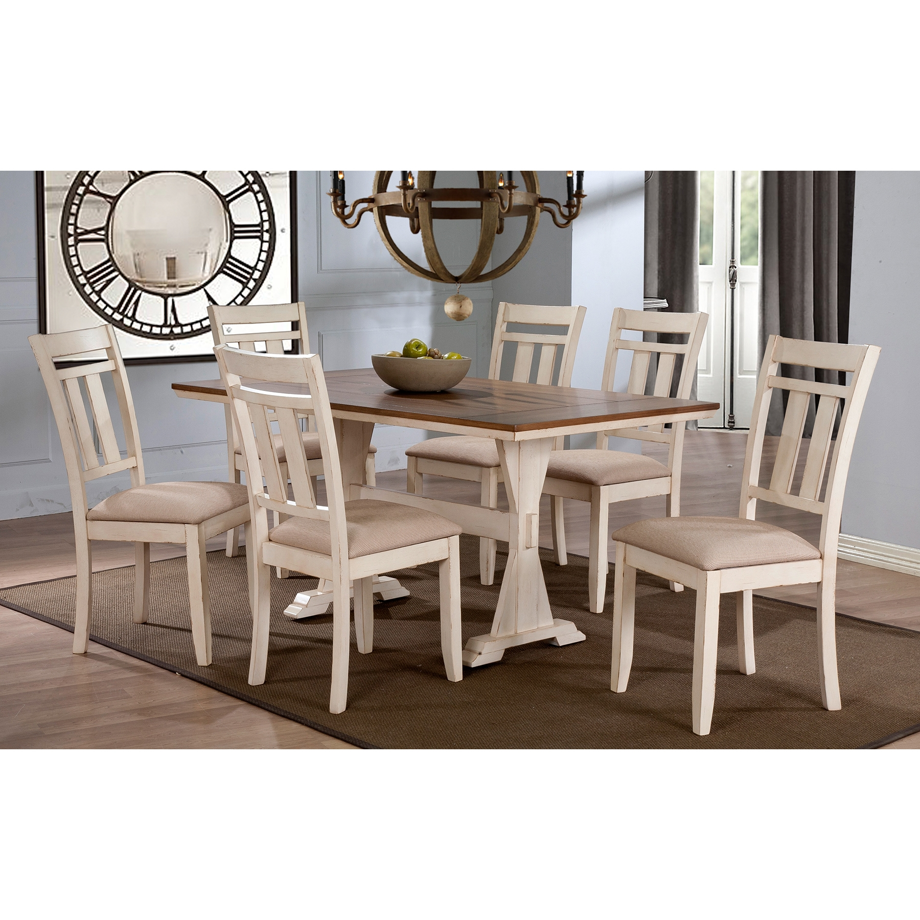 distressed oak dining table. baxton studio roseberry shabby chic french country cottage antique oak wood and distressed white 7- dining table 2