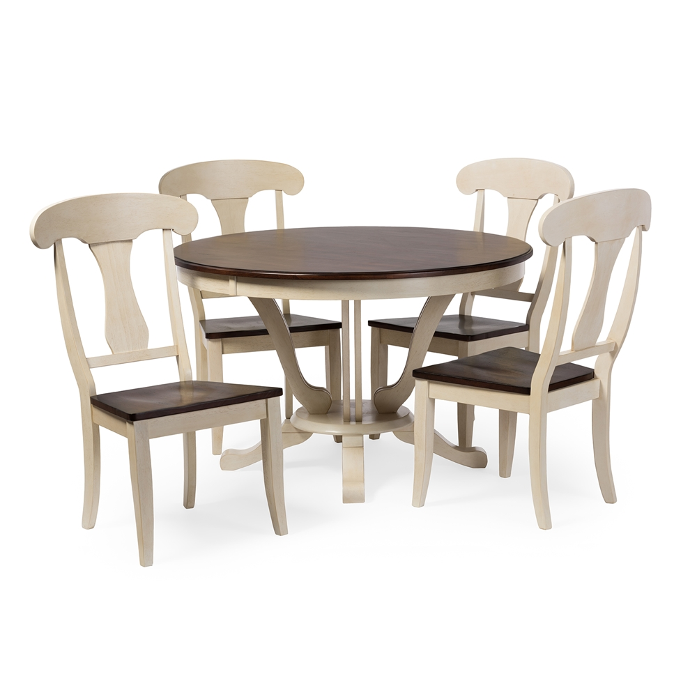 baxton studio napoleon chic country cottage antique oak wood and distressed white  piece dining set with  inch round pedestal base fixed top dining table: 40 inch round pedestal dining table