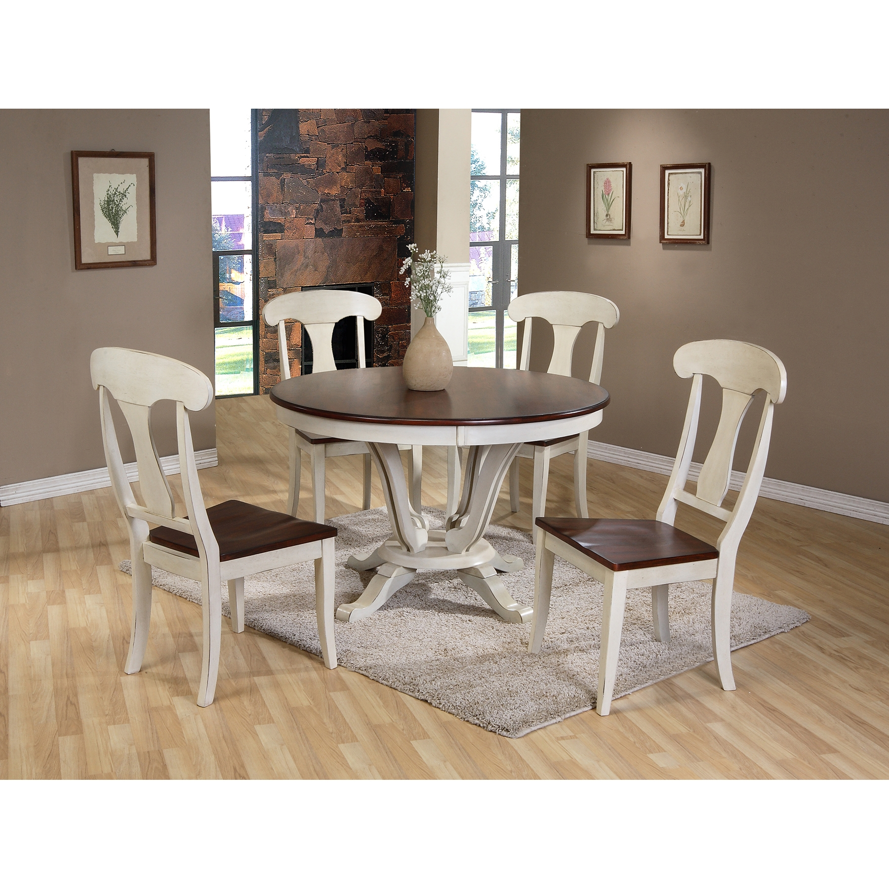 Oak Top Dining Table Part - 26: ... Baxton Studio Napoleon Chic Country Cottage Antique Oak Wood And  Distressed White 5-Piece Dining