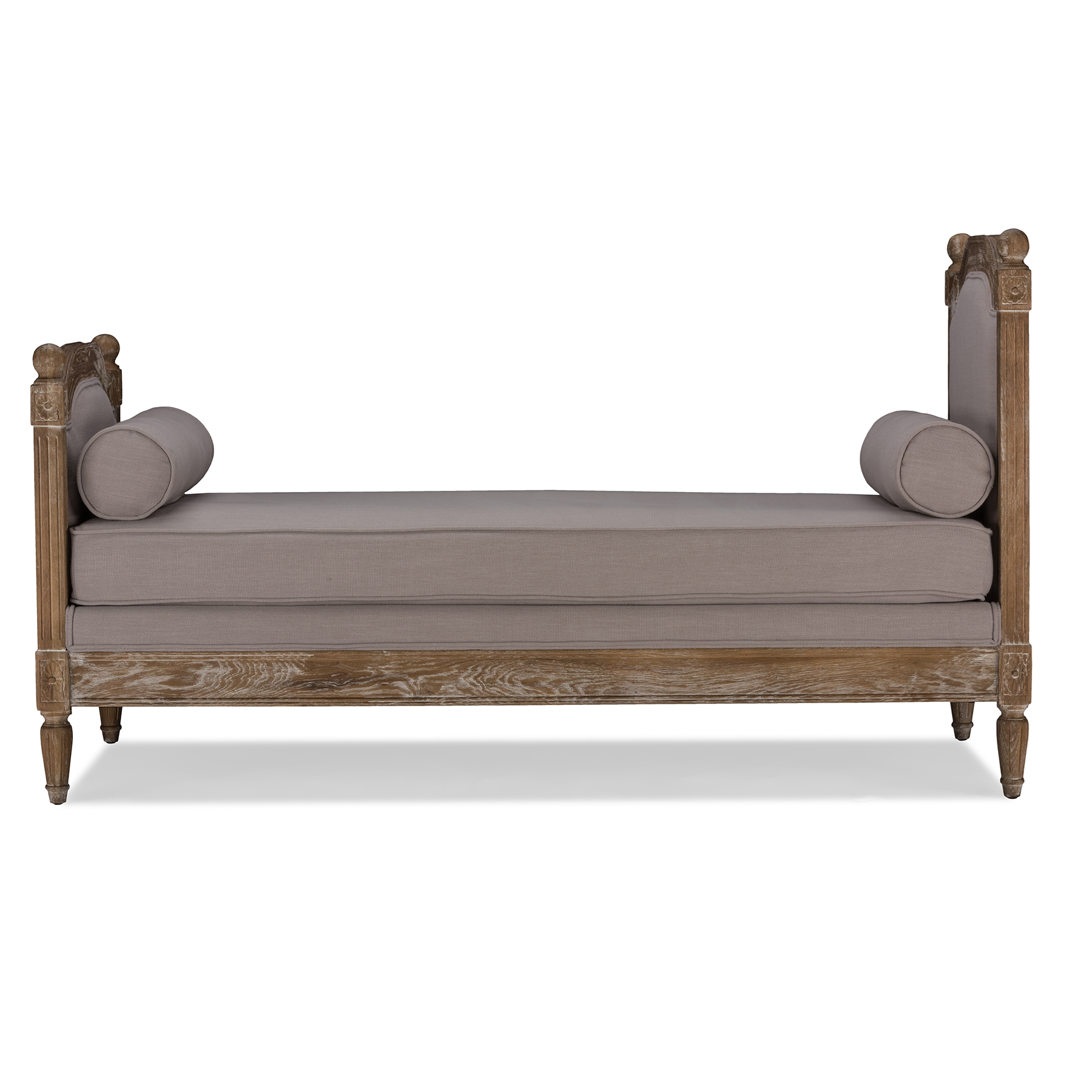 Baxton Studio Della Chic French Vintage Inspired Classic Oak Wood Beige  Linen Fabric Upholstered Daybed Settee
