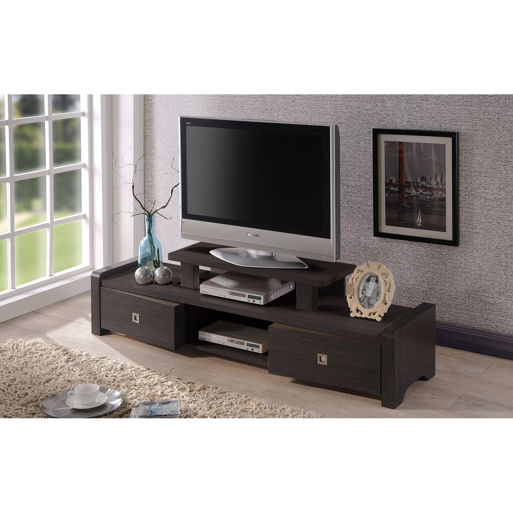 ... Baxton Studio Madeline 59 Inch Modern And Contemporary Dark Brown Entertainment  Center TV Stand With