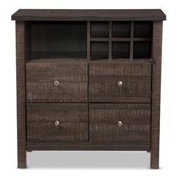 Baxton Studio Dakota Modern And Contemporary Dark Espresso Brown Wood Wine Bar Cabinet Affordable Furniture
