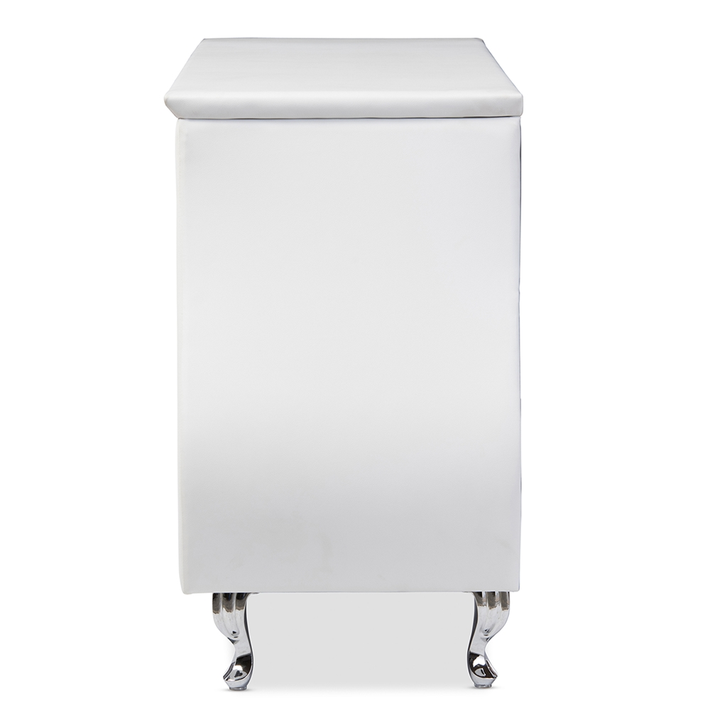baxton studio enzo modern and contemporary white faux leather   -  baxton studio enzo modern and contemporary white faux leather drawerdresser  bsobbt