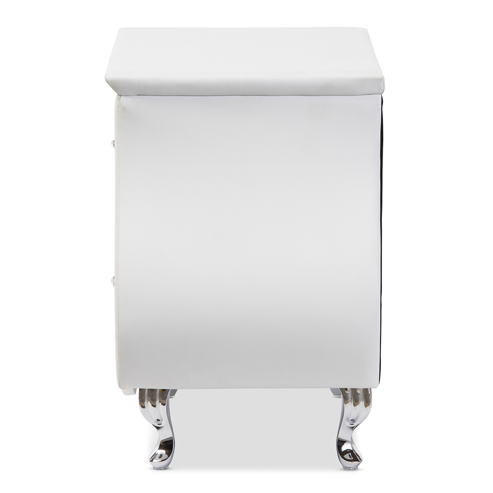 Baxton Studio Erin Modern and Contemporary White Faux Leather ...