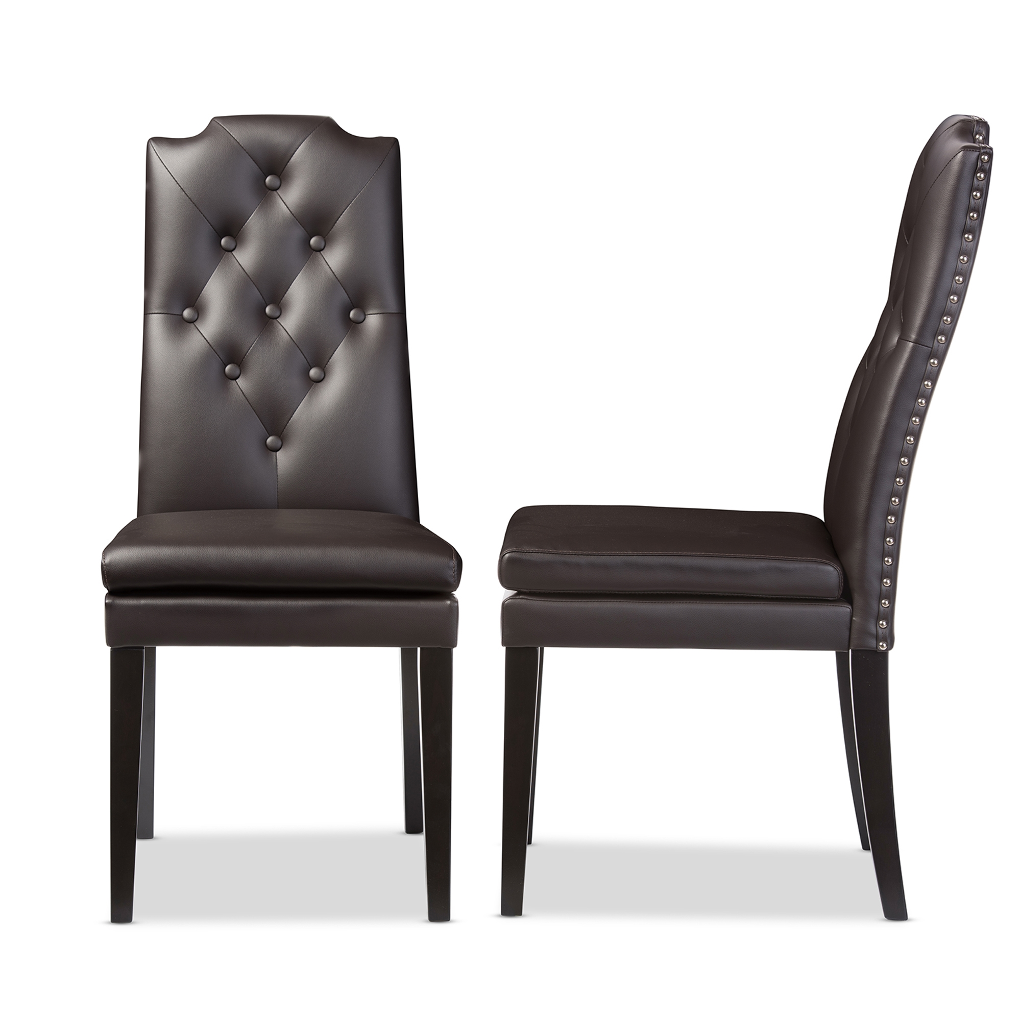 Baxton Studio Dylin Modern And Contemporary Dark Brown Faux Leather  Button Tufted Nail Heads Trim Dining Chair