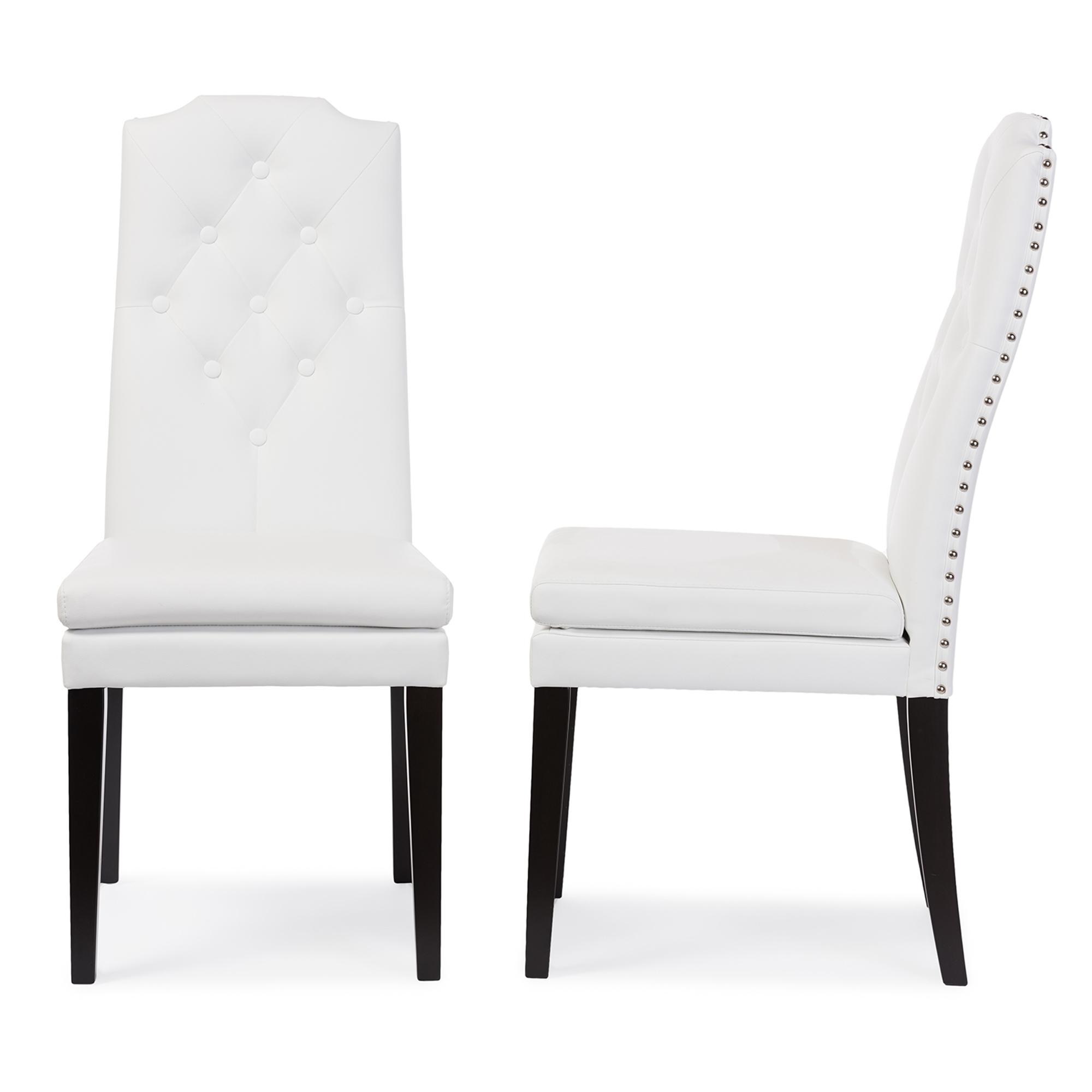 Amazing Baxton Studio Dylin Modern And Contemporary White Faux Leather  Button Tufted Nail Heads Trim Dining Chair
