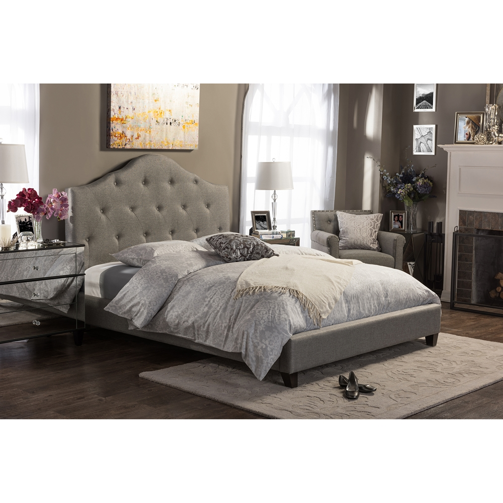 Baxton Studio Anica Scalloped Grey Fabric Modern King Size