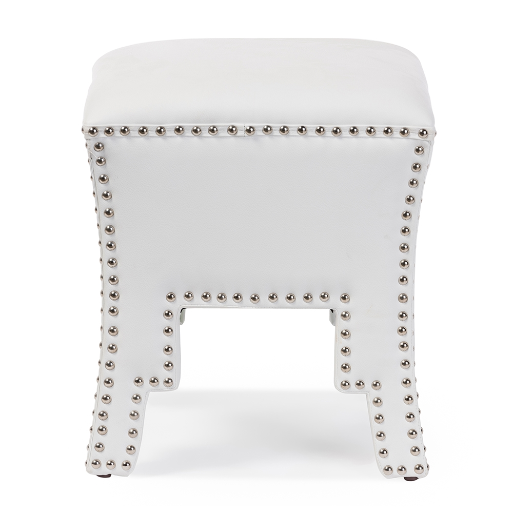 Baxton Studio Bouverie Modern and Contemporary White Faux Leather ...
