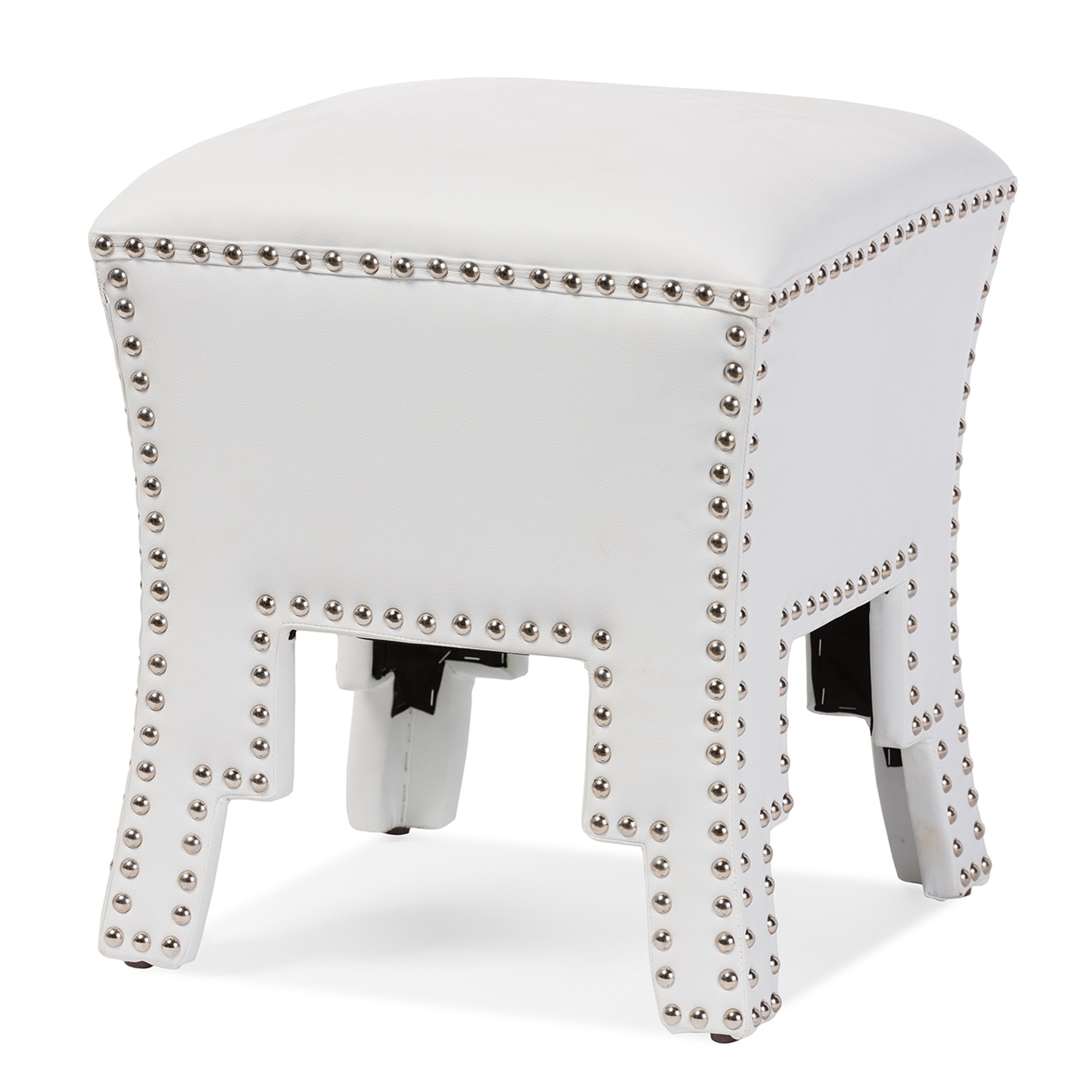 ... Baxton Studio Bouverie Modern and Contemporary White Faux Leather Nail head Ottoman Stool - BSOBBT5202- ...  sc 1 st  Baxton Studio Outlet & Baxton Studio Bouverie Modern and Contemporary White Faux Leather ... islam-shia.org