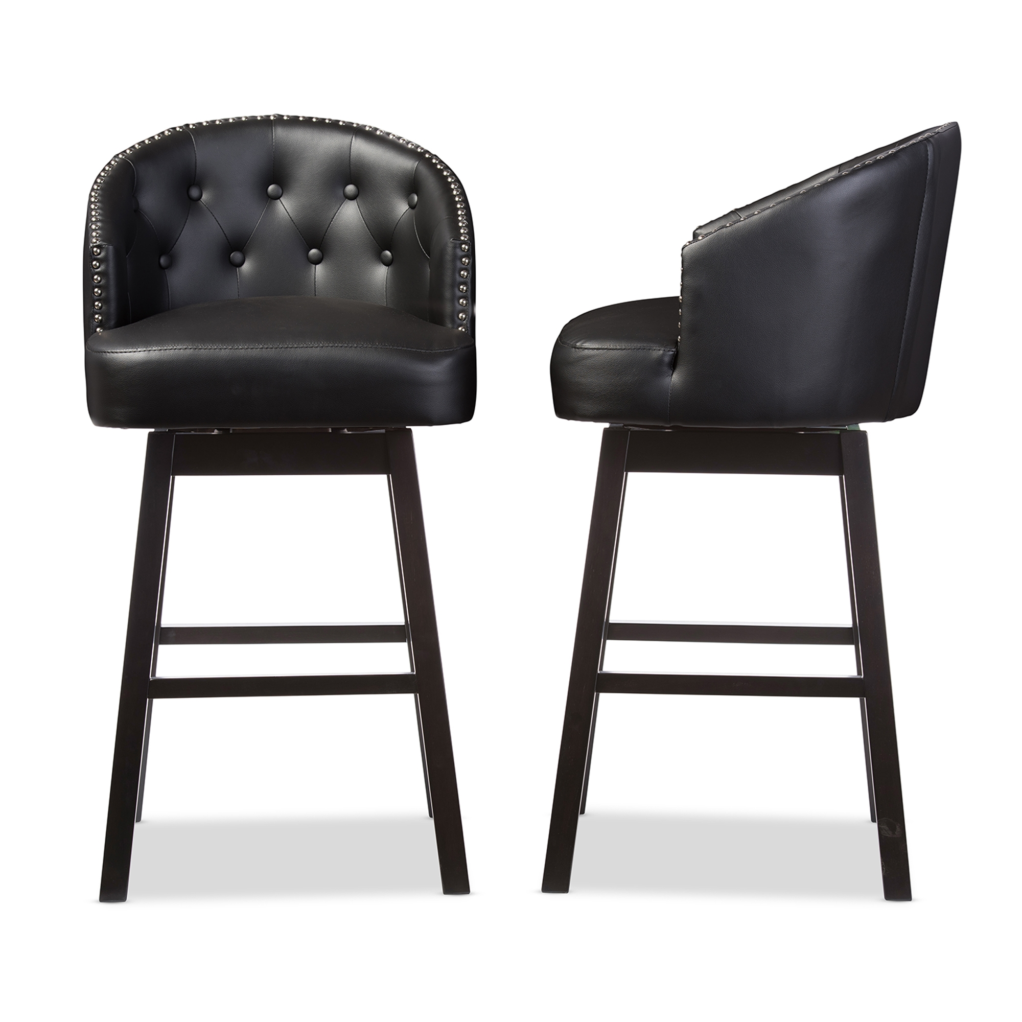 Baxton Studio Avril Modern and Contemporary Black Faux Leather Tufted Swivel Barstool with Nail heads Trim  sc 1 st  Baxton Studio Outlet & Baxton Studio Avril Modern and Contemporary Black Faux Leather ... islam-shia.org