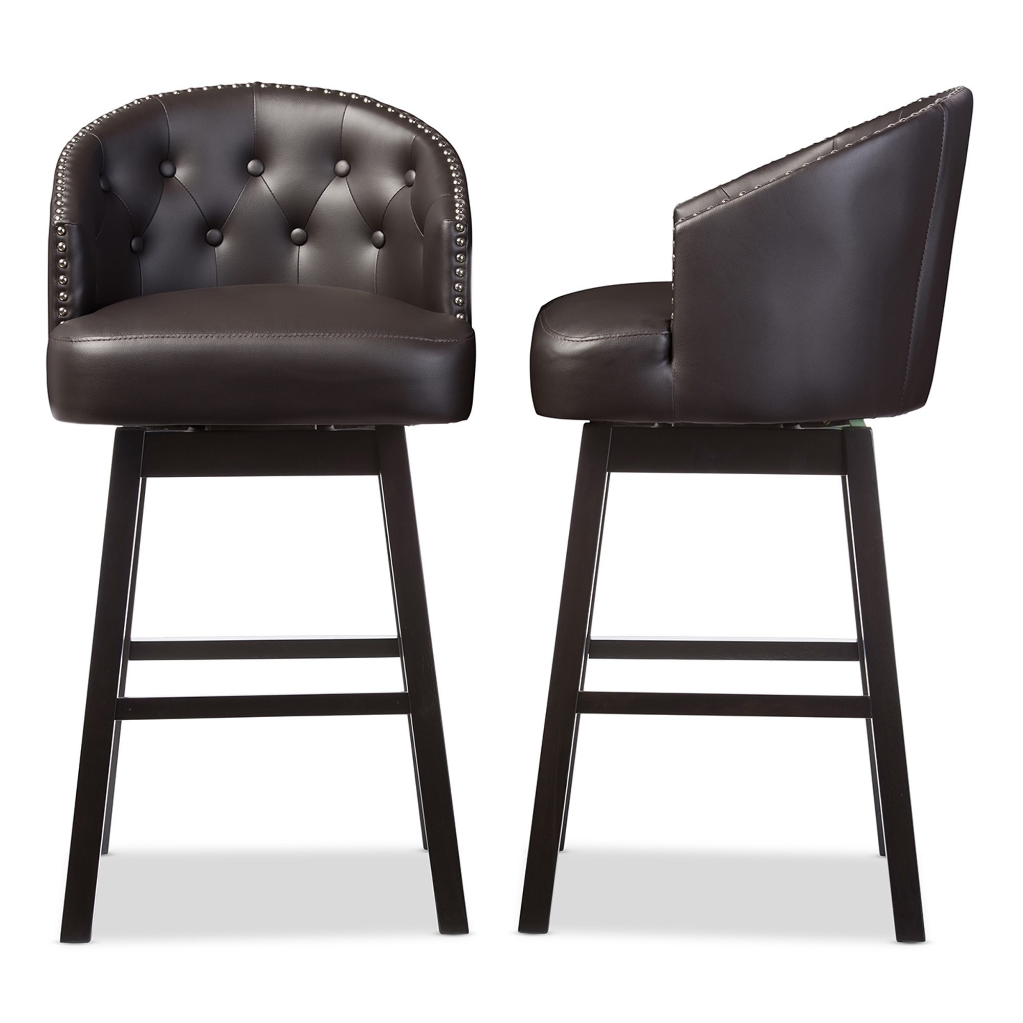 Baxton Studio Avril Modern and Contemporary Brown Faux Leather Tufted Swivel Barstool with Nail heads Trim  sc 1 st  Baxton Studio Outlet & Baxton Studio Avril Modern and Contemporary Brown Faux Leather ... islam-shia.org