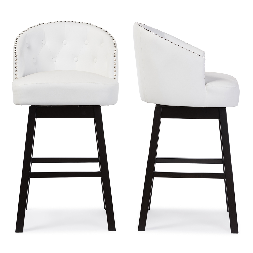 baxton studio avril modern and contemporary white faux leather tuftedswivel barstool with nail heads trim. baxton studio avril modern and contemporary white faux leather
