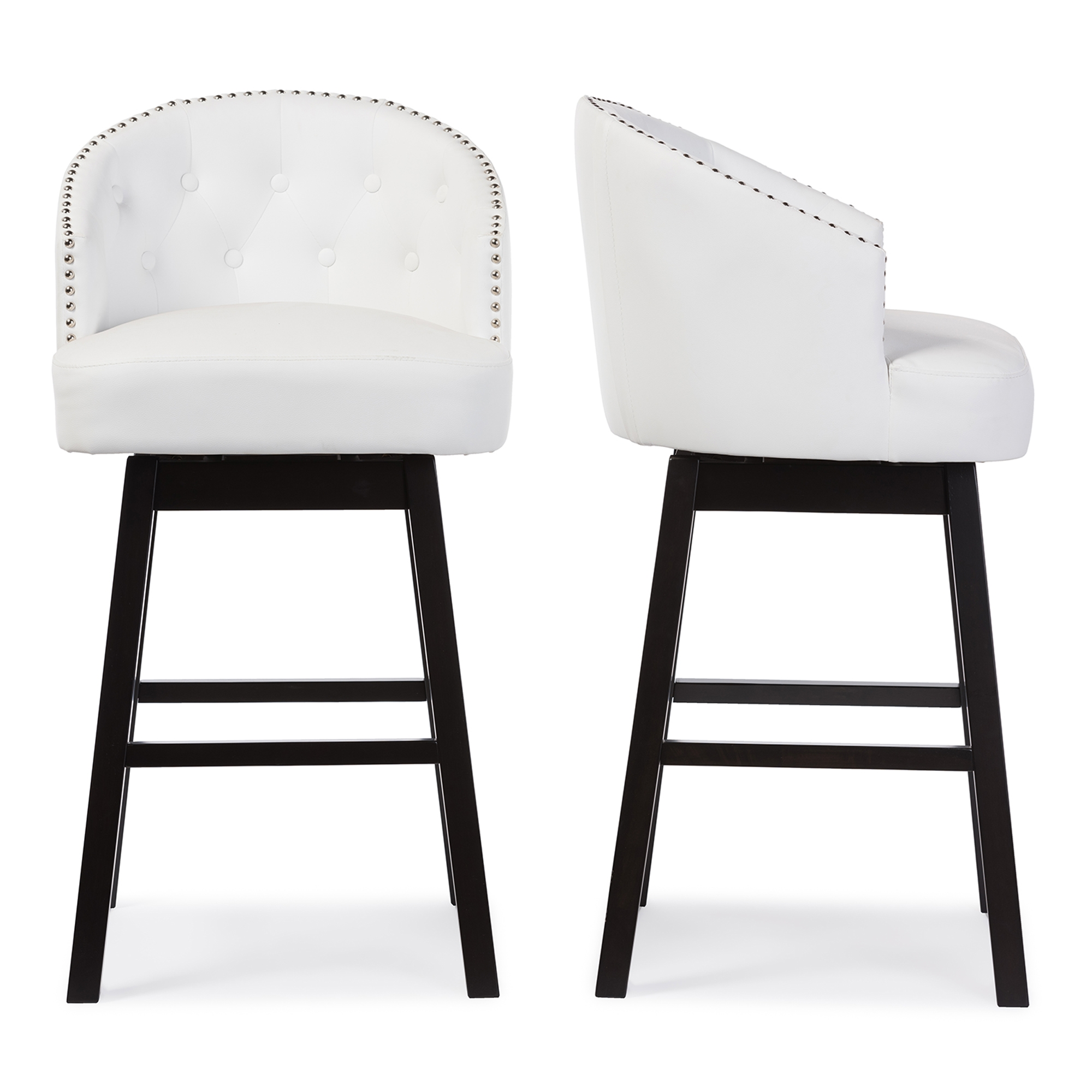 Baxton Studio Avril Modern and Contemporary White Faux Leather Tufted Swivel Barstool with Nail heads Trim  sc 1 st  Baxton Studio Outlet : swivel stool - islam-shia.org