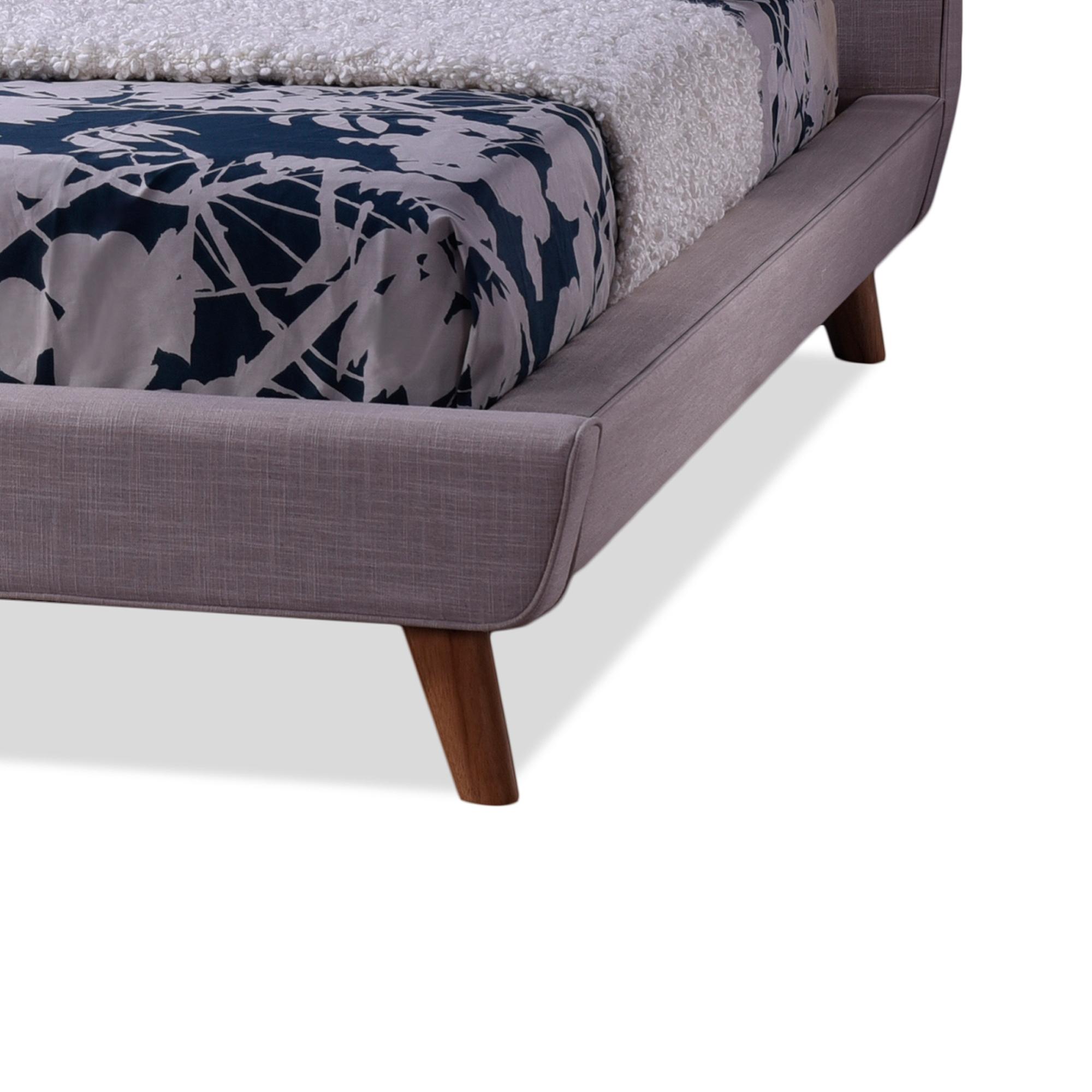 baxton studio jonesy style midcentury beige fabric upholstered king size platform bed - Upholstered Platform Bed
