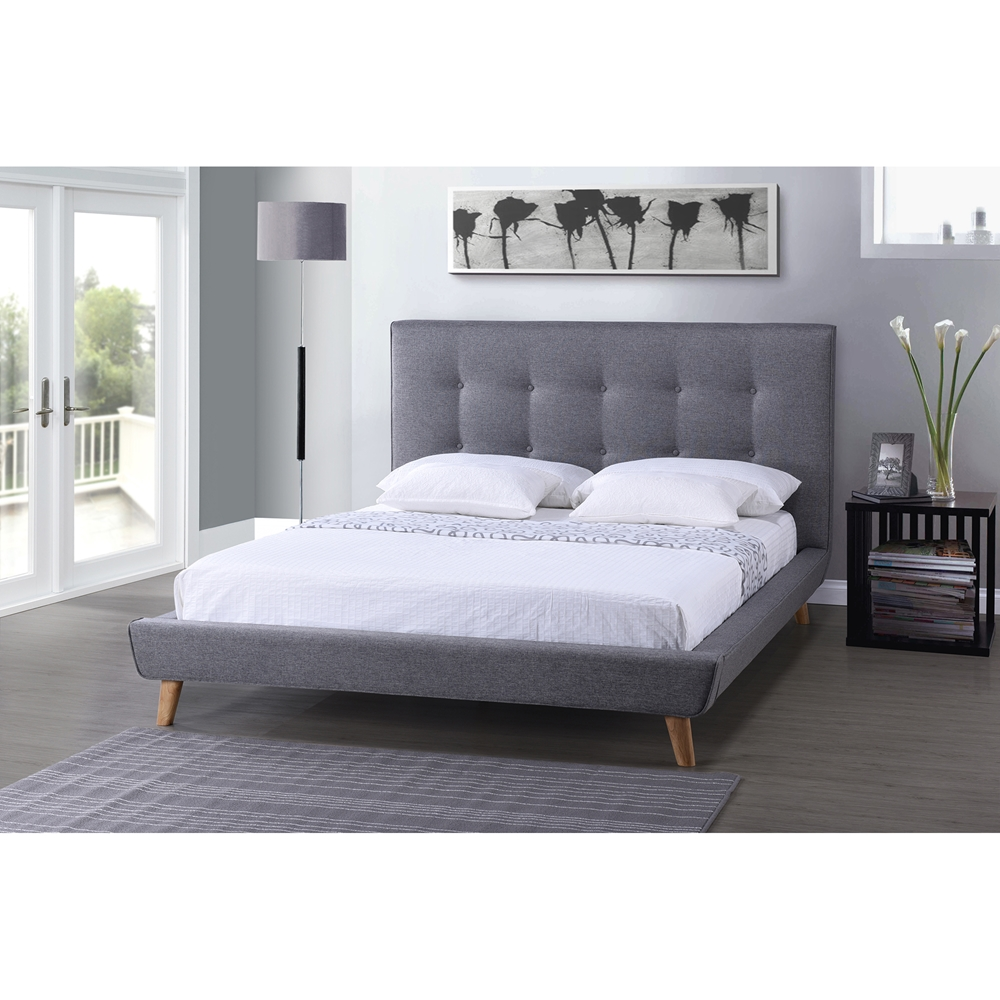 baxton studio jonesy scandinavian style mid century grey fabric upholstered king size platform bed
