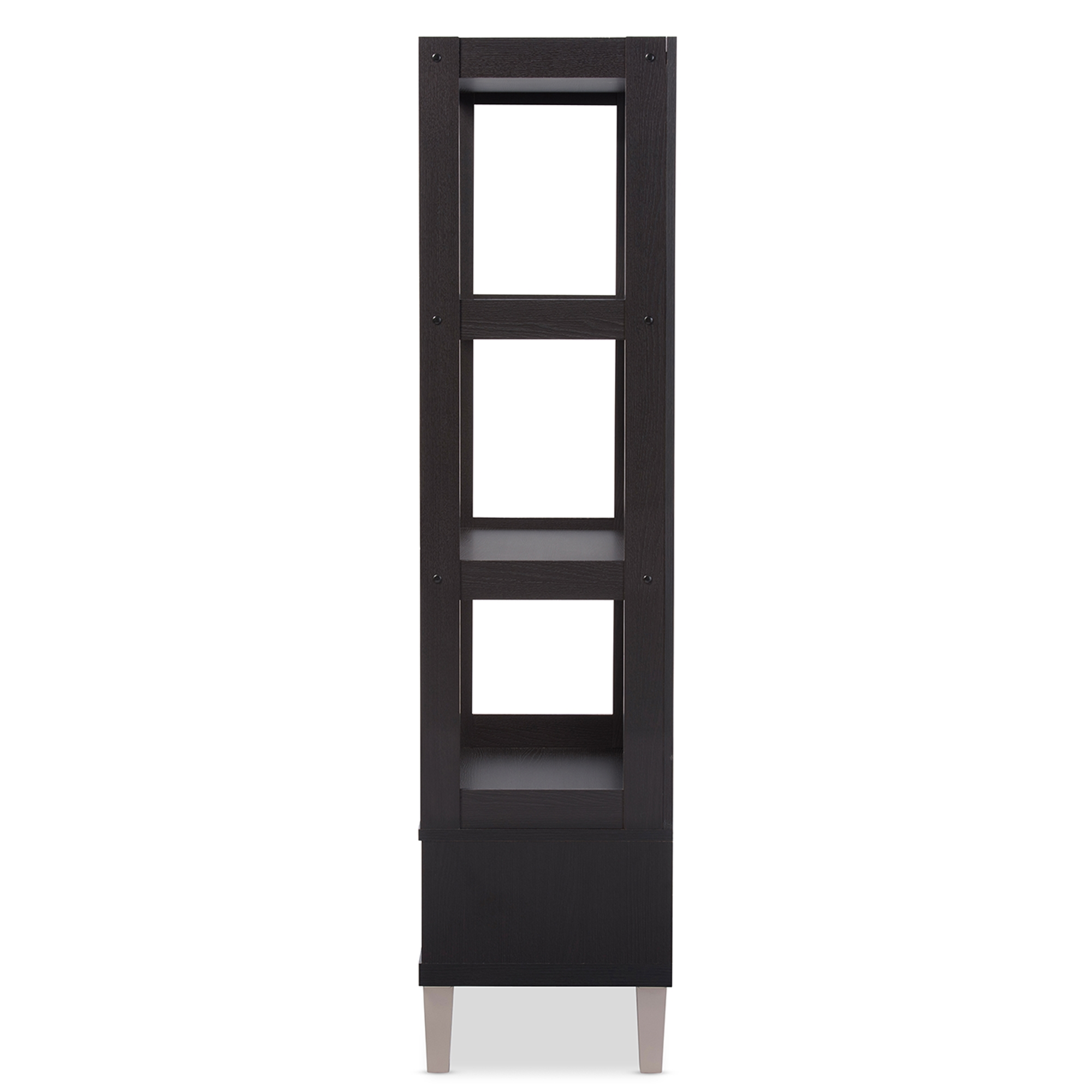 baxton studio kalien modern and dark brown wood leaning bookcase with display shelves and two