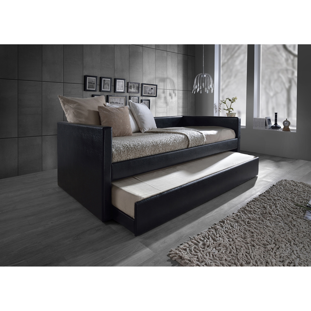 Black Leather Trundle Bed