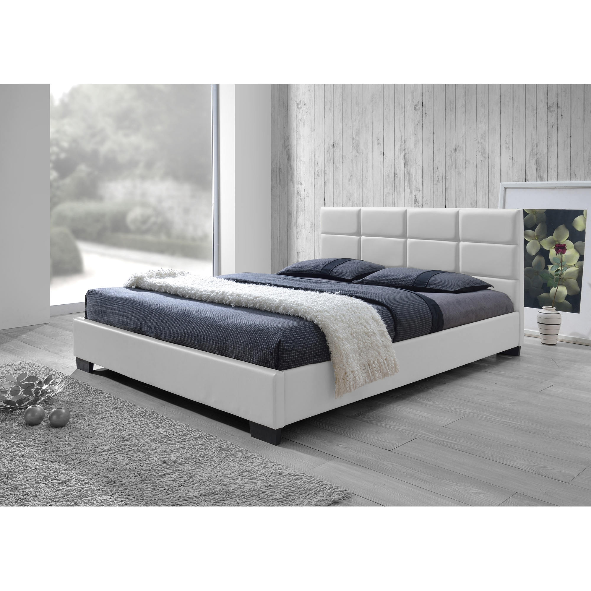 ... Baxton Studio Vivaldi Modern And Contemporary White Faux Leather Padded  Platform Base Queen Size Bed Frame