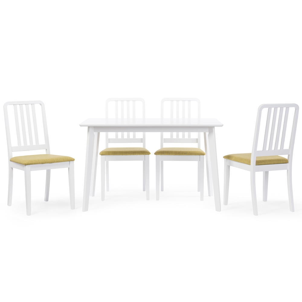 Baxton studio jasmine mid century modern 5 piece white for White wood upholstered dining chairs