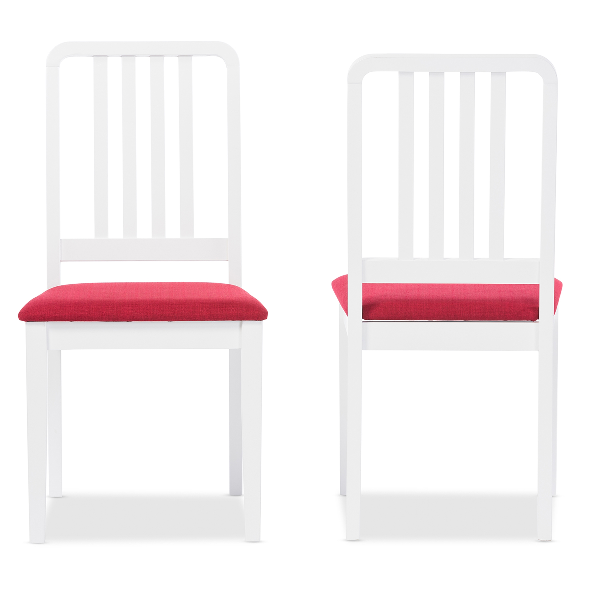 ... Baxton Studio Jasmine Mid Century Modern 5 Piece White Wood Dining Set  With Red ...
