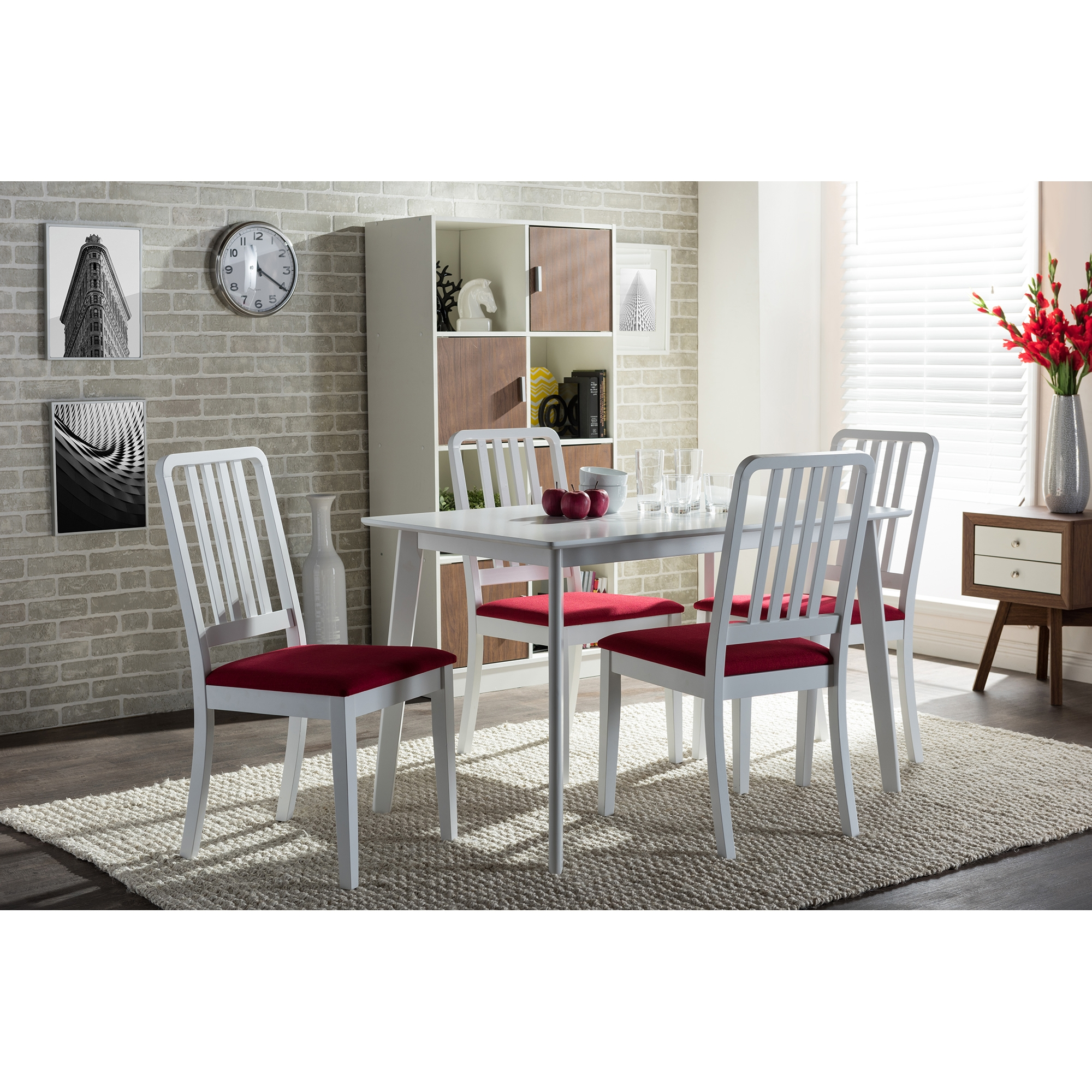 ... Baxton Studio Jasmine Mid Century Modern 5 Piece White Wood Dining Set  With Red