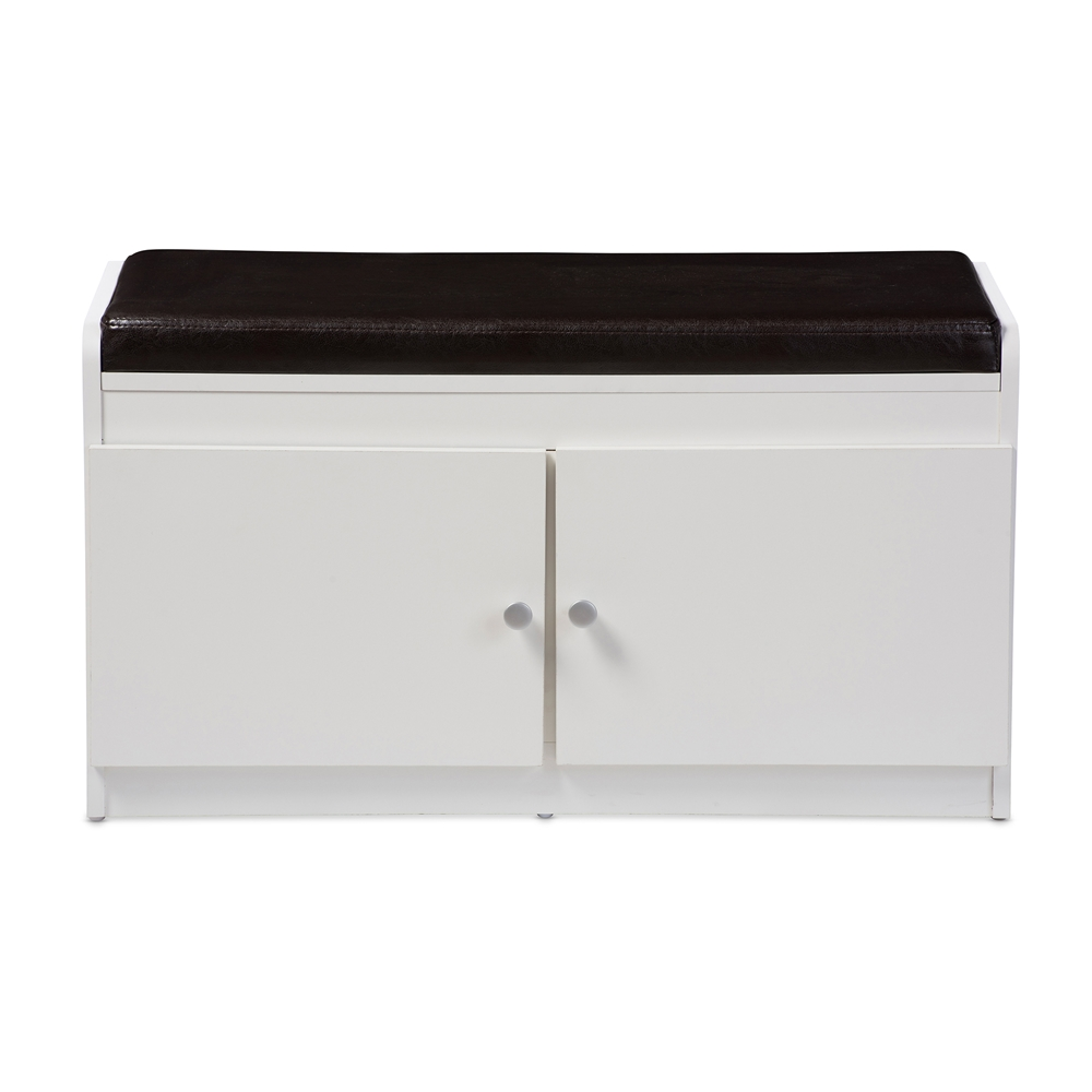 baxton studio margaret modern and contemporary white wood door  - baxton studio margaret modern and contemporary white wood door shoecabinet with faux leather seating bench