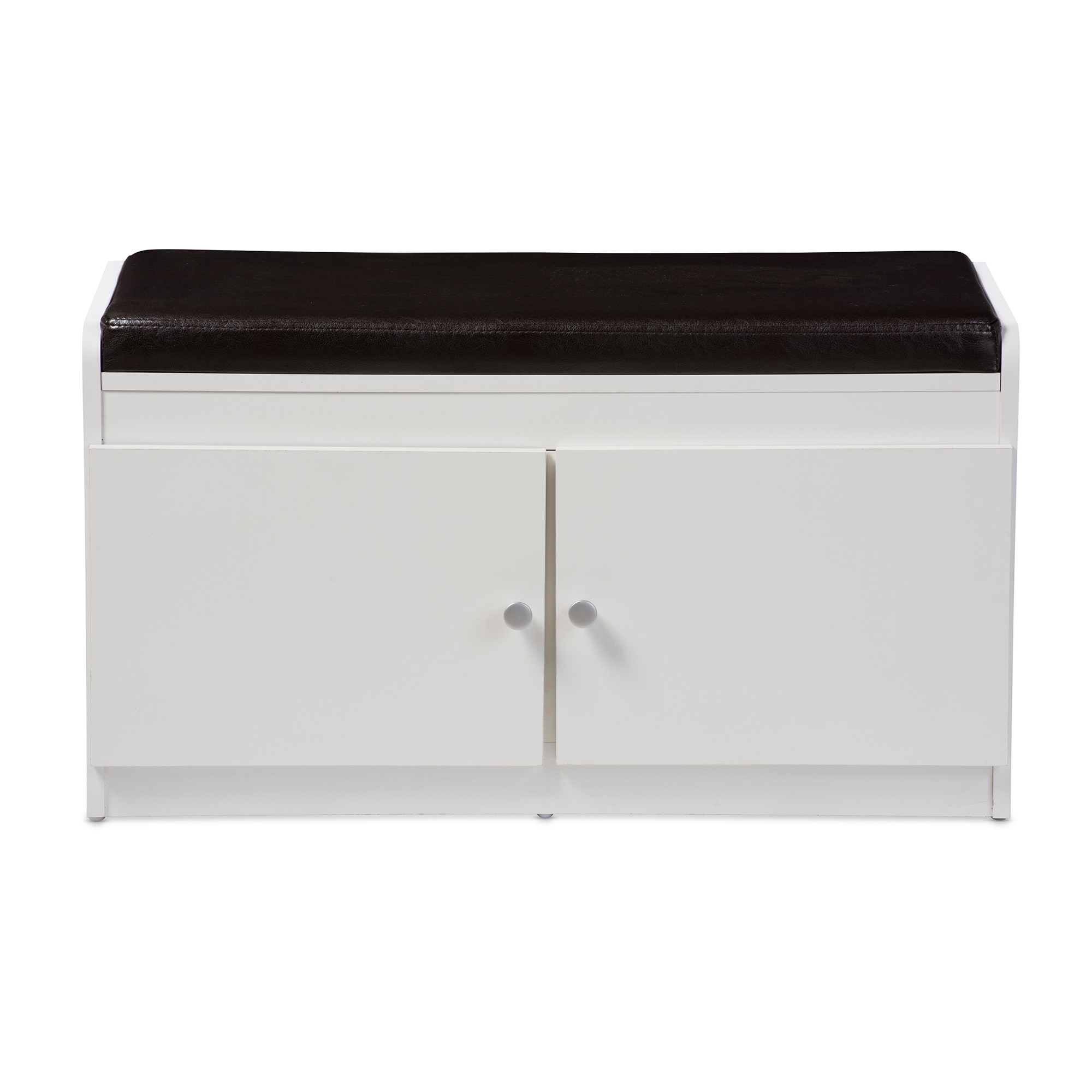 Baxton Studio Margaret Modern And Contemporary White Wood 2 Door Shoe  Cabinet With Faux Leather Seating Bench