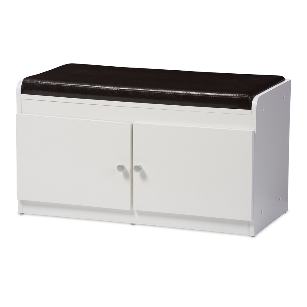 Baxton studio margaret modern and contemporary white wood 2 door shoe cabinet with faux leather Shoe cabinet bench