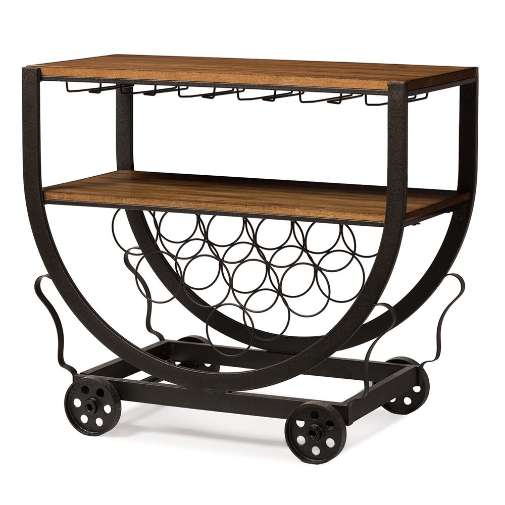 Wood And Metal Industrial Kitchen Cart: Baxton Studio Triesta Antiqued Vintage Industrial Metal