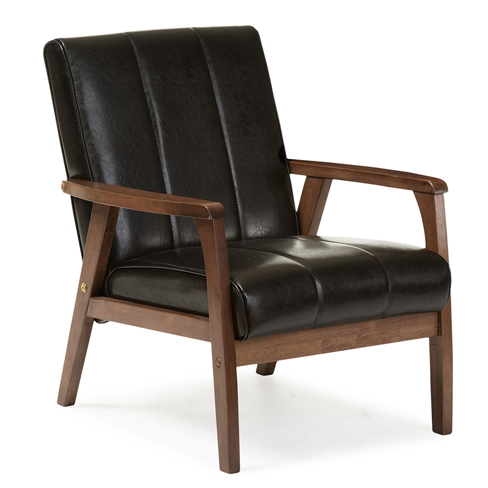Baxton studio nikko mid century modern scandinavian style for Contemporary leather lounge chairs