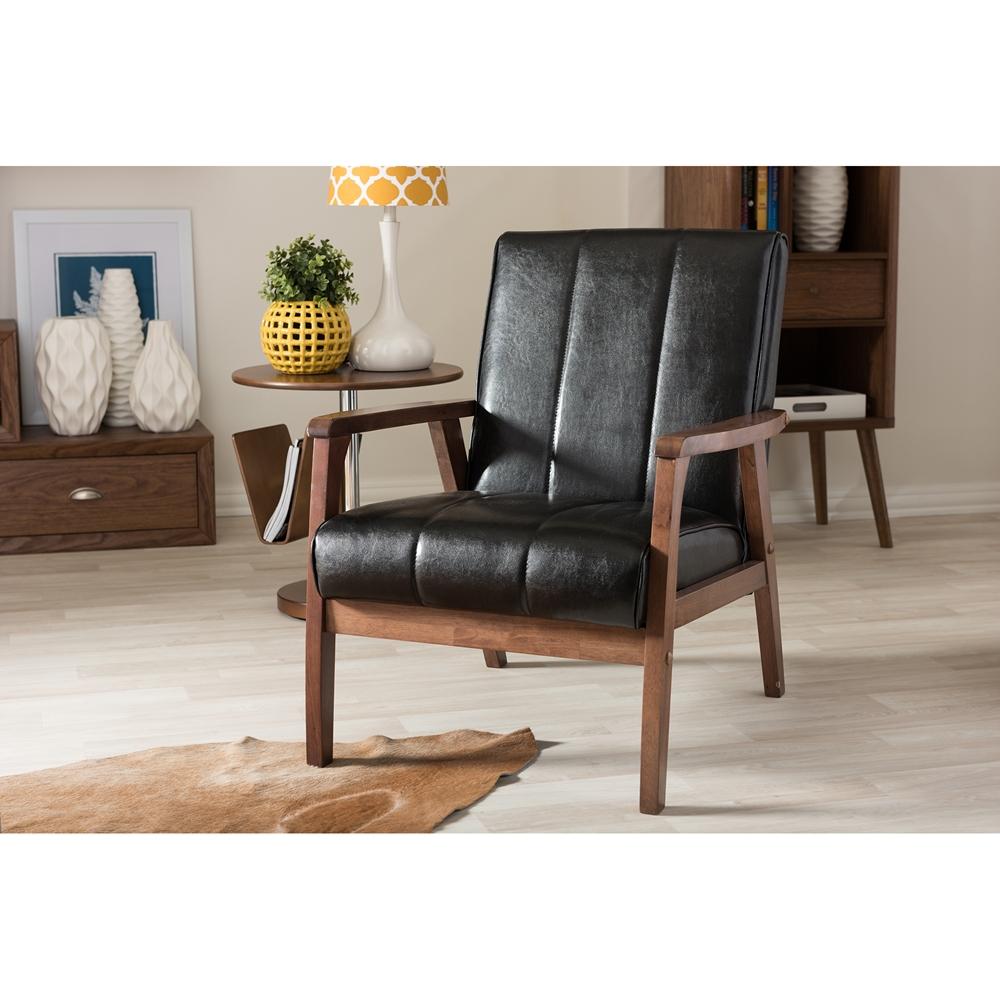 baxton studio nikko mid century modern scandinavian style black faux leather wooden lounge chair baxton studio lounge chair