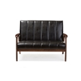 Baxton Studio Nikko Mid-century Modern Scandinavian Style Black Faux Leather Wooden 2-Seater Loveseat Affordable modern furniture in Chicago, Classic Living Room Furniture, Modern Sofas & Loveseats, cheap Loveseats
