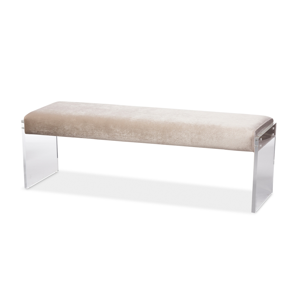 baxton studio hildon modern and contemporary beige microsuede  -  baxton studio hildon modern and contemporary beige microsuede fabricupholstered lux bench with paneled acrylic legs